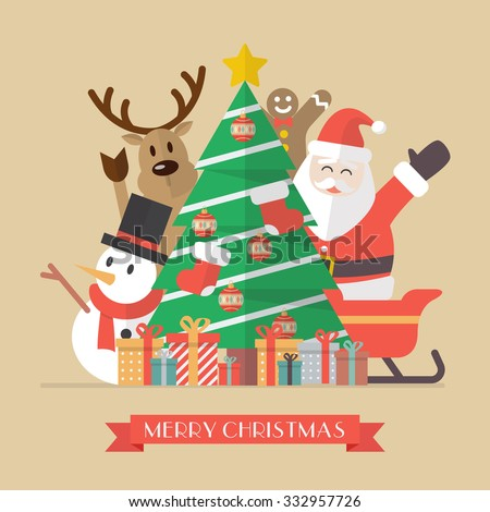 Merry Christmas Vintage Greeting Card. Flat Style - stock vector