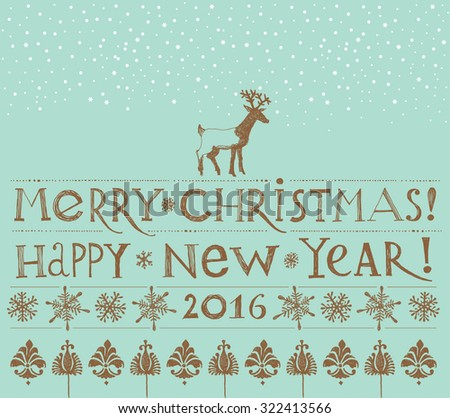 Merry Christmas Vintage Greeting Card. Vector illustration: Merry Christmas & Happy New Year. - stock vector