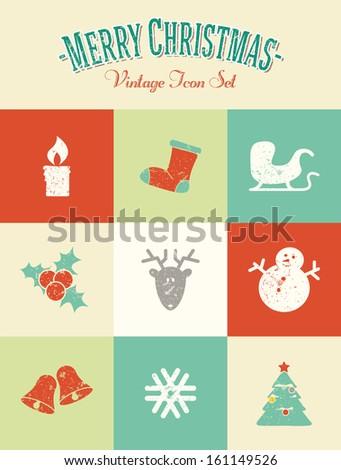 Merry Christmas - Vintage Icon Set - stock vector