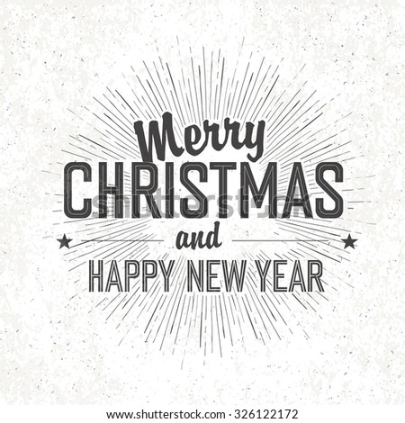 Merry Christmas Vintage Monochrome Lettering - stock vector