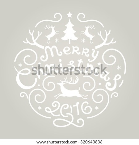 Merry Christmas Vintage Retro Typography Lettering Design Greeting Card - stock vector