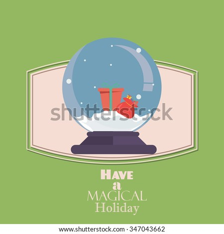 Merry Christmas Vintage Retro Typography Lettering Design Greeting Card on simple background.Flat Christmas Snow Globe. Christmas snow globe with a Christmas tree inside. Isolated Christmas glass ball