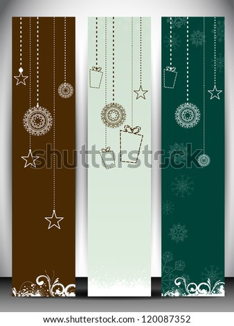 Merry Christmas website banner set. EPS 10. - stock vector