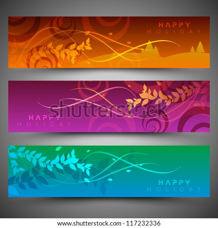 Merry Christmas website header and banner with beautiful snowflake design. EPS 10. - stock vector