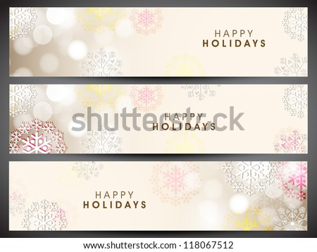 Merry Christmas website header or banner with beautiful snowflake design. EPS 10. - stock vector