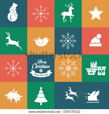 Merry Christmas with decoration icons design, vector illustration 10 eps graphic. - stock vector