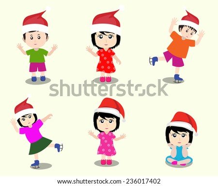 Merry christmas with happy kids - stock vector