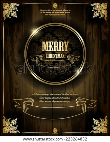 Merry Christmas. Wood texture background. Page decoration. - stock vector