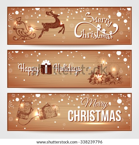 Merry Christmas wooden horizontal banners with snowfall, reindeer, christmas candles, mittens. Christmas background. Vector illustration. - stock vector