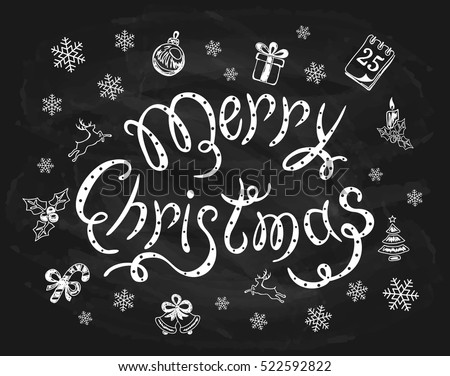 Merry Christmas written in white chalk on a black chalkboard, holiday lettering with snowflakes and decorative elements, illustration.