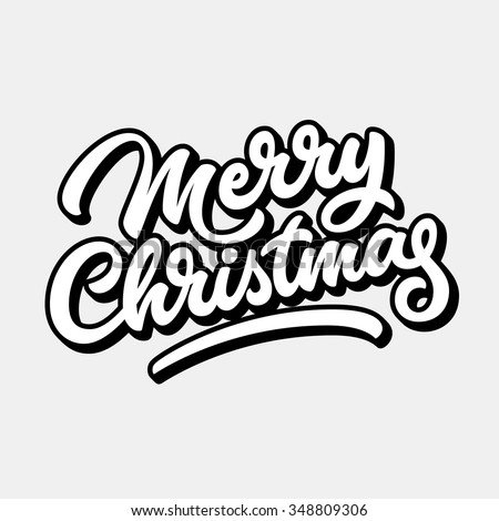 Merry Christmas, xmas badge with handwritten lettering, calligraphy with outline, block blended shade and light background for logo, banners, labels, postcards, prints, posters. Vector illustration - stock vector