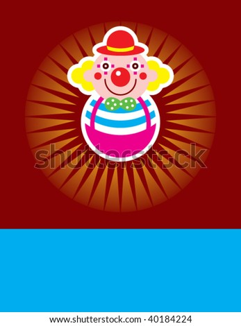 merry clown greeting - stock vector