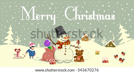 merry cristmas snowman snowflake santa winter xmas vintage card girl, holiday, snowman, Father Frost ded moroz children, game, sledge to ride, go, round - stock vector
