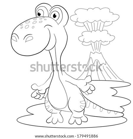 Dinosaur And Volcano Coloring Pages Merry Dinosaur on a Background