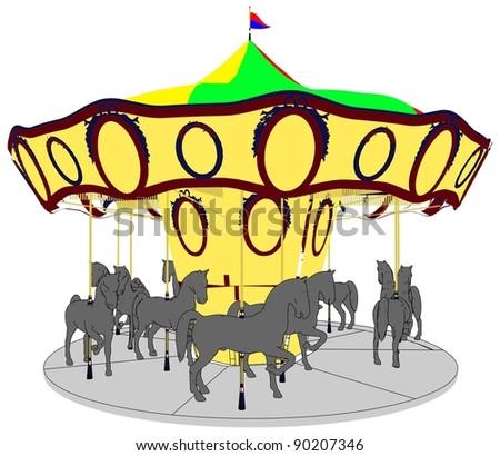 Merry-Go-Round Horse Carousel Vector 18 - stock vector