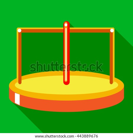 Merry go round icon in flat style on a green background - stock vector