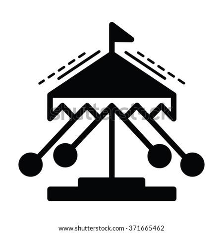 merry-go-round line icon  black color - stock vector