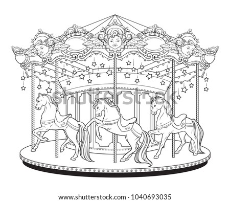 Merry Go Round Horses Coloring Book Stock Vector HD (Royalty Free ...
