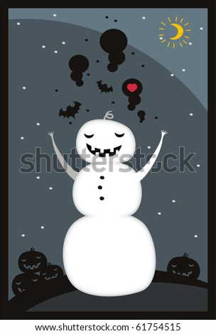 Merry Halloween Day! - 3 holidays on one card. Vector illustration.
