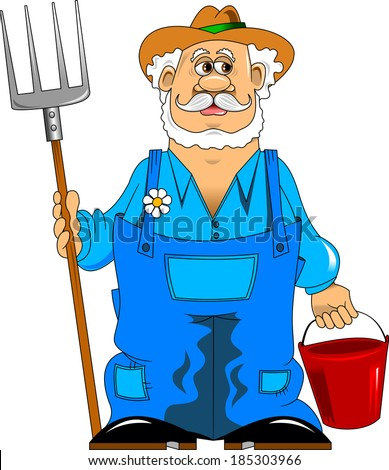 merry mustachioed farmer with a pitchfork and bucket;  - stock vector
