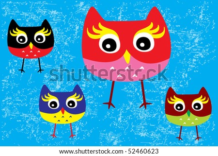 merry owl family greeting - stock vector