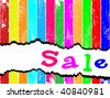 Merry sales template. Tag sale on a multicolored plank - stock vector
