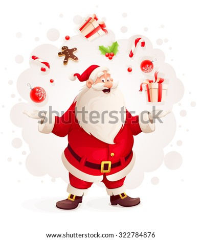 Merry Santa Claus juggles with Christmas gifts and sweets as magician. vector illustration. Isolated on white background. Transparent objects used for lights and shadows drawing. - stock vector