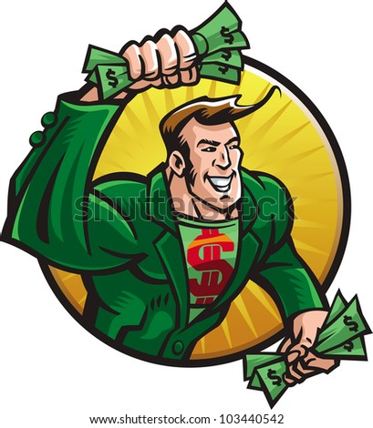 Merry superhero with money in a hurry to you