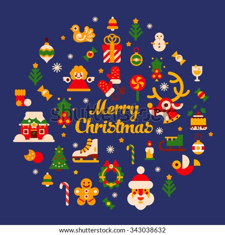 Merry xmas and happy New Year! Big  set of isolated items: Christmas tree, deer, bird, gingerbread man. candies, mittens, firs, snow covered tree. Flat vector isolated set.  - stock vector