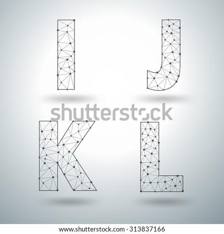 Mesh stylish alphabet letters I J K L, Vector illustration templates design - stock vector