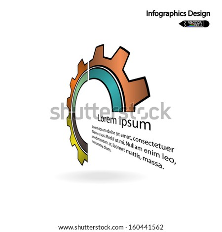 meshing gear on white background,industrial driving sign , presentation template .vector illustration  - stock vector