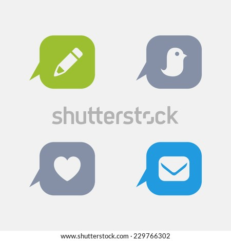 Message Button Icons. Granite Series. Simple glyph style icons in 4 versions. The icons are designed at 32x32 pixels. - stock vector