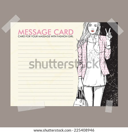 Message card with fashion girl fixed with sticky tape. Vector illustration. - stock vector