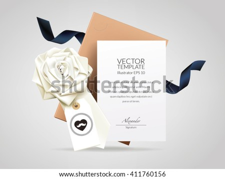 Message card with flower folded neck tie, hang tag. - stock vector