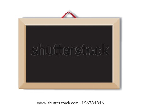 Message chalk board black hanging; isolated on the white background - stock vector