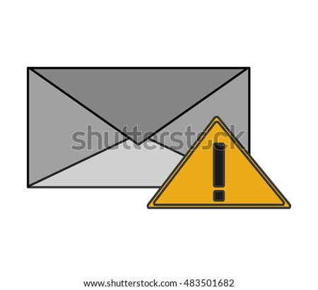 message envelope and warning sign icon
