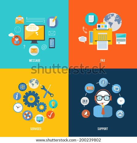 Message, fax, services and support icons in flat design. Set for web and mobile applications of office work - stock vector