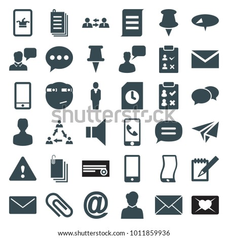 Message icons. set of 36 editable filled message icons such as poker on phone, chat, chatting man, mail, pin, rolling eyes emoji, user, check list, paper, communication, phone