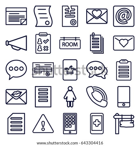 Message icons set. set of 25 message outline icons such as poker on phone, megaphone, paper, direction board, document, love letter, phone, chat, call, at email, room tag