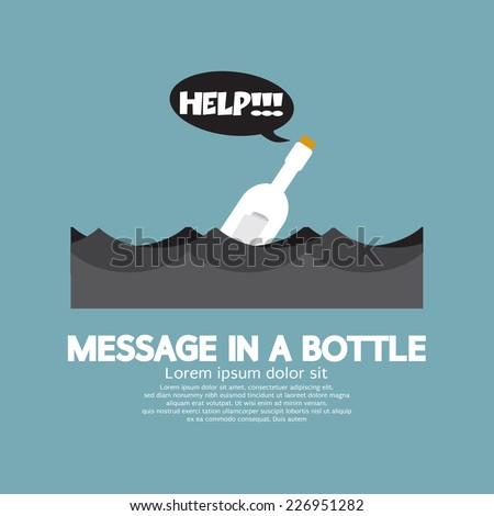 Message in a Bottle Floating In The Sea Vector Illustration - stock vector