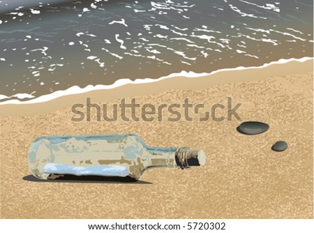 Message in the bottle washed ashore (vector)