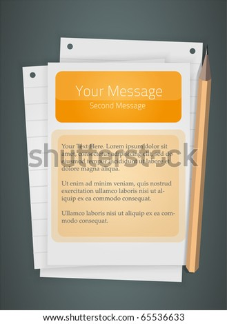 Message on a sheet of paper. Fully vector, enjoy! - stock vector