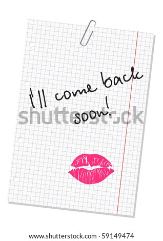 message on sheet of paper - stock vector