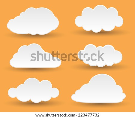 Messages in the form of white clouds. Vector Illustration. - stock vector