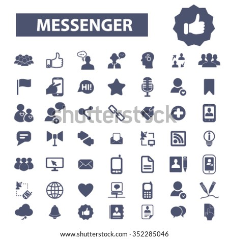 messenger, contact, social community icons, contact us, phone, cell, telephone icons  - stock vector