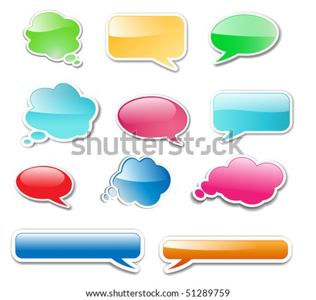 Messenger windows glossy web elements, icons, vector illustration.
