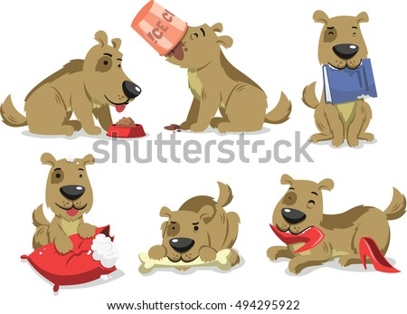 messy dog eating things vector cartoon