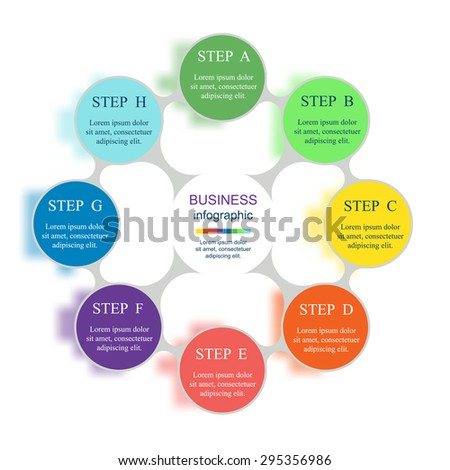 Metaball for diagram, graph, presentation and chart. Business concept with 8 options, parts, steps or processes. Vector infographic on blur background