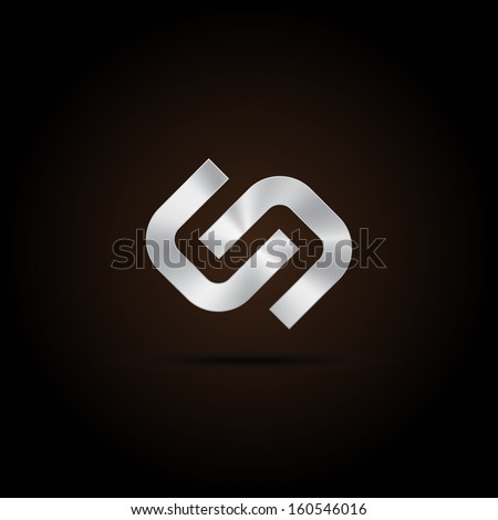 Metal abstract icon, hyperlink, chain, handshake, fit, partnership, union. vector design - stock vector