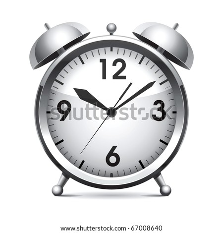 Metal alarm clock.Vector.